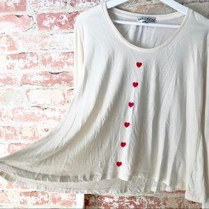 Wildfox Heart Print Swing Top Long Sleeve Ivory
